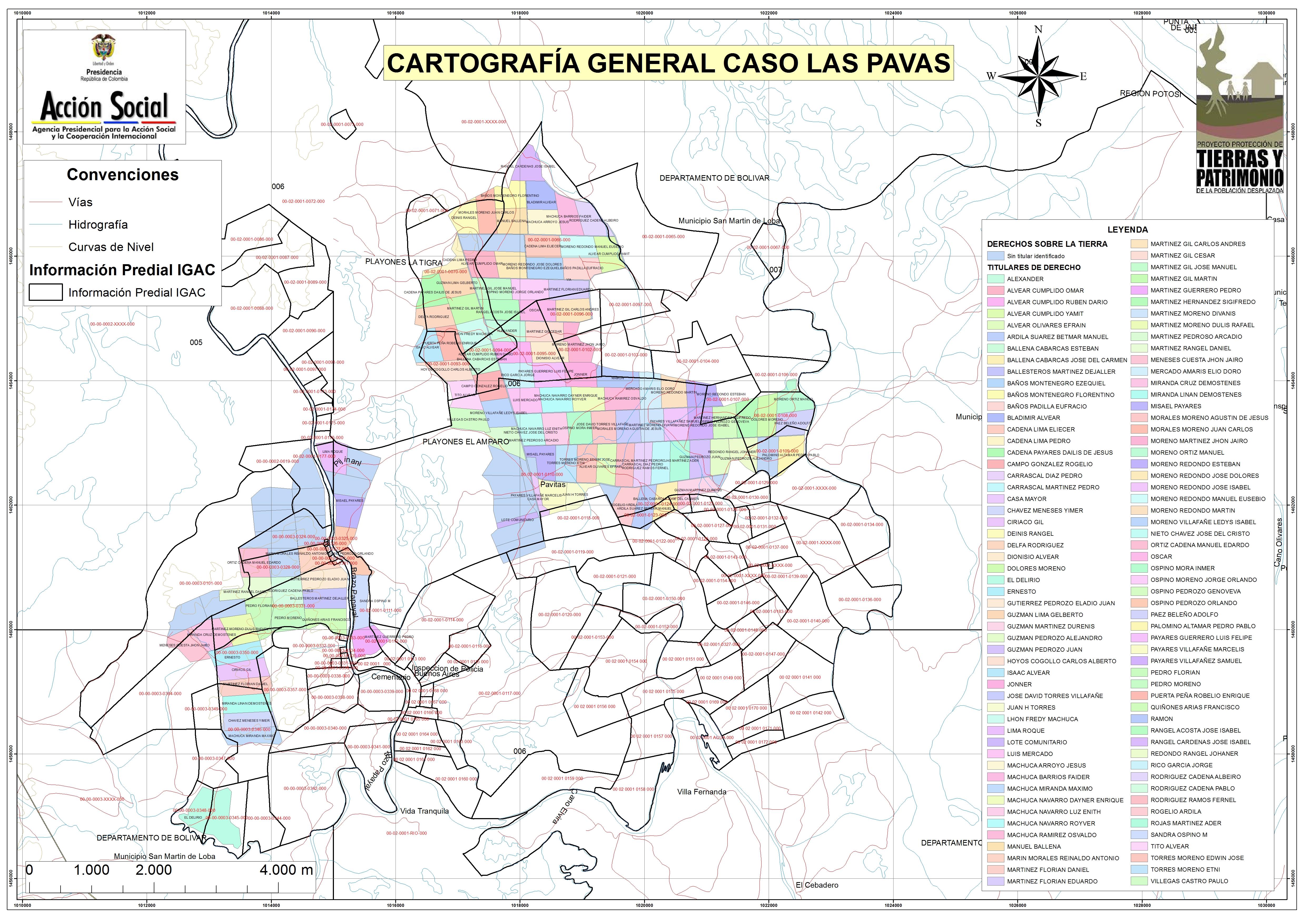 Cartografía general caso Las Pavas