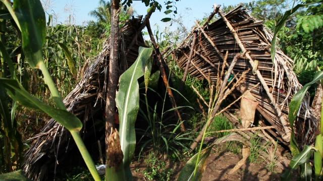 Uno de los ranchos destruídos por el personal de Aportes San isidro.