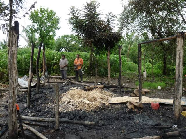 Así quedó el rancho de uno de los campesinos de ASOCAB el 17 de septiembre de 2013